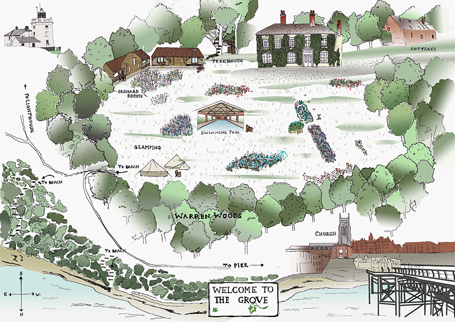 Illustrated map of The Grove by Nancy Edwards.
