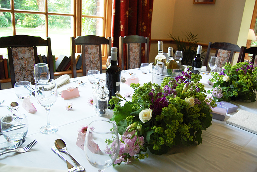 Table set for a wedding at The Grove.