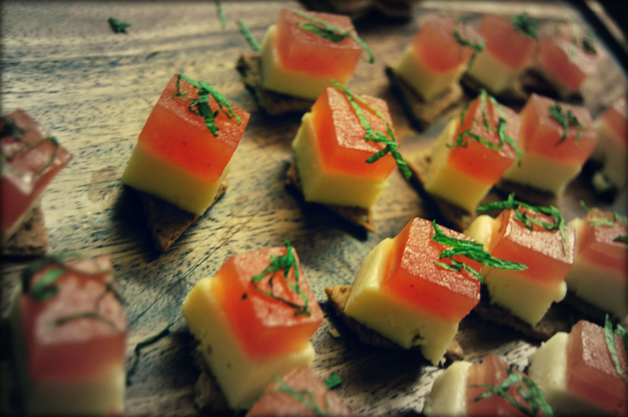 Cheese & Quince amuse-bouche.